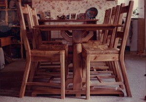 chestnut dining table and chairs adj